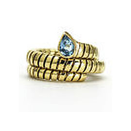 Bulgari Tubogas 18K Yellow Gold & Blue Topaz Serpenti Ring Size 8