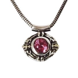 Lagos Caviar Sterling Silver and 18K Yellow Gold with Pink Tourmaline Pendant Necklace