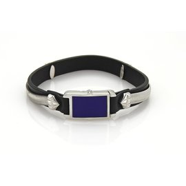 Stephen Webster 925 Sterling Silver & Leather Lapis Inlay Clasp Bracelet