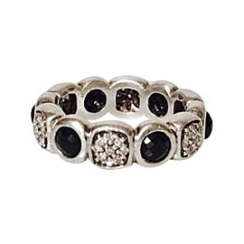 David Yurman Sterling Silver with Black Onyx and Diamond Chiclet Eternity Band Ring Size 6