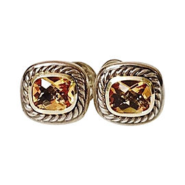 David Yurman Albion Sterling Silver and 14K Yellow Gold with Citrine Earrings