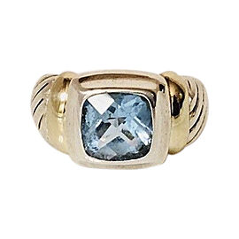 David Yurman Sterling Silver and 14K Yellow Gold with Blue Topaz Noblesse Ring Size 6