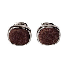 David Yurman Sterling Silver and Brown Leather Cushion Cufflinks