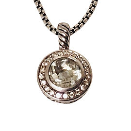 David Yurman Sterling Silver with Prasiolite and 0.21ct. Diamond Cerise Halo Pendant Necklace