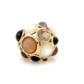 Ippolita Gellato 18K Yellow Gold Mother of Pearl, Quartz & Onyx Dome Ring Size 8.5