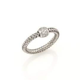 Roberto Coin Primavera 18K White Gold & 0.09ct. Diamond Woven Band Ring Size 6.25