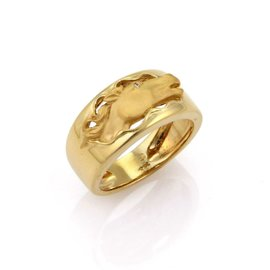 Carrera Y Carrera 18K Yellow Gold with Diamond Horse Band Ring Size 7.5