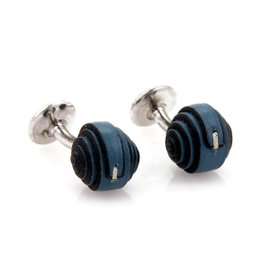 Hermes 925 Sterling Silver & Blue Wrapped Leather Button Stud Cufflinks