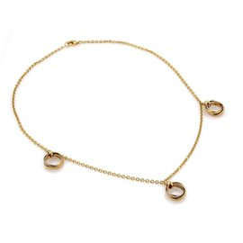 Cartier Trinity 18K Yellow, Rose and White Gold 3 Dangling Mini Rolling Charms Necklace