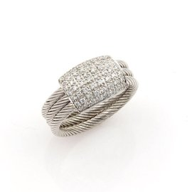 Philippe Charriol Flamme Blanche 18K White Gold & Diamonds Cable Ring Size 5.5