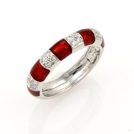 Hidalgo 0.15ct. Diamonds & Red Enamel Stack 18K White Gold Band Ring Size 5.25