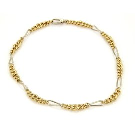 Pomellato 18K Yellow and White Gold Graduated Curb Figaro Link Chain Necklace