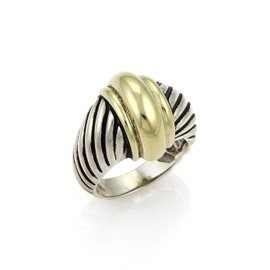 David Yurman 14K Yellow Gold and Sterling Silver Thoroughbred Shrimp Ring Size 5