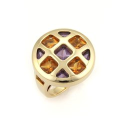 Cartier Pasha 18K Yellow Gold with Citrine & Amethyst Round Ring Size 5.25