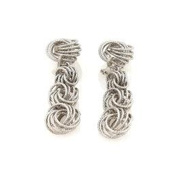 Buccellati Gianmaria 18K White Gold Knot Dangle Clip On Vintage Earrings