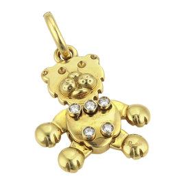 Pomellato 18K Yellow Gold & 0.12ct. Diamonds Animated Bear Charm Pendant