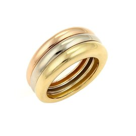 Cartier 18k Tri-Color Gold Triple Dome Tapered Band Ring Size 4.75