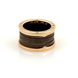 Bulgari B.Zero 1 Brown Marble 18K Rose Gold Band Ring Size 6