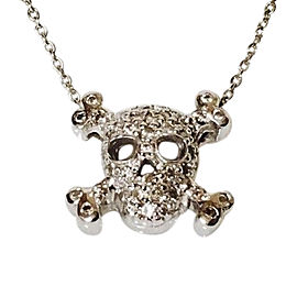 Roberto Coin Tiny Treasures 18K White Gold with 0.20ct. Diamond Skull Pendant Necklace