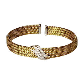 Charriol 18K Yellow Gold and Stainless Steel with Diamond Station Four Row Alor Bracelet