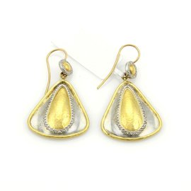 Gurhan Clover 24K Yellow Gold & 925 Sterling Silver with 0.05ct Diamond Drop Dangle Earrings