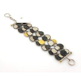 Gurhan Contour 925 Sterling Silver & 24K Yellow Gold Med Round Discs Multi-Strand Bracelet