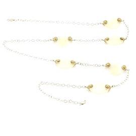 Gurhan Nokta Discus 925 Sterling Silver & 24K Yellow Gold 0.35ct Diamonds & White Quartz Necklace