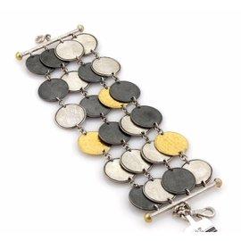 Gurhan Contour 925 Sterling Silver & 24K Yellow Gold Round Discs Multi-Strand Bracelet