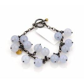 Gurhan Pop 925 Darkened Sterling Silver & 24K Yellow Gold Chalcedony Multi Bead Chain Bracelet