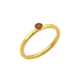 Gurhan Skittle 24K Yellow Gold & 0.17ct Spessartite Hammered Texture Ring Size 4.5