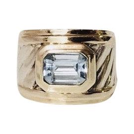 David Yurman Sterling Silver and 14K Yellow Gold Blue Topaz Cigar Band Ring Size 5.25