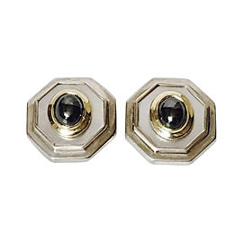 David Yurman 14K Yellow and White Gold with Mother Of Pearl and Hematite Extra Large Vintage Earrings