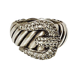 David Yurman Classic Cable Sterling Silver with 0.61ct. Diamond Buckle Ring Size 6.5