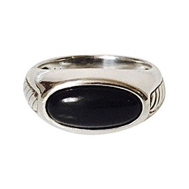 David Yurman Black Onyx Inset Cable Signet Ring Size 9