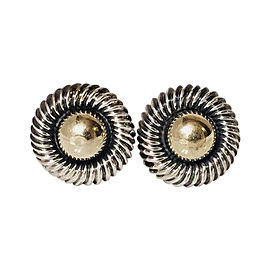 David Yurman Sterling Silver and 14K Yellow Gold XL Cable Dome Button Earrings