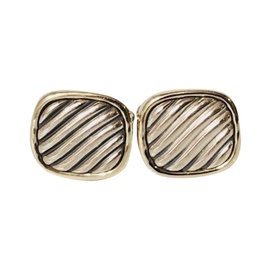 David Yurman Classic Cable Sterling Silver and 14K Yellow Gold Cufflinks
