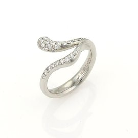 Tiffany & Co. Elsa Peretti 950 Platinum & 0.35ctw. Diamond Snake Bypass Ring Size 5.25