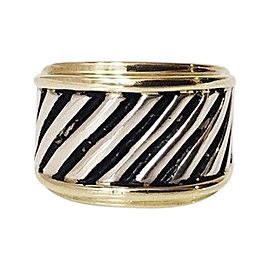 David Yurman Classic Cable Cigar Sterling Silver and 14K Yellow Gold Band Ring Size 7