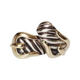 David Yurman 925 Sterling Silver and 18K Yellow Gold Classic Cable Buckle Earrings
