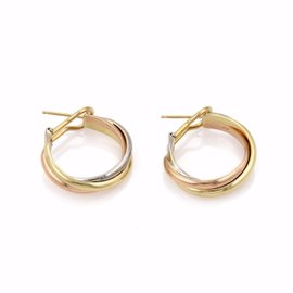 Cartier Trinity 18K Yellow, White and Rose Gold Triple Band Hoop Earrings