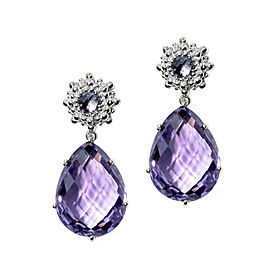 Anzie Sterling Silver Iolite, Amethyst Earrings