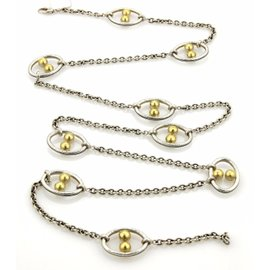 Gurhan 24K Yellow Gold and 925 Sterling Silver Oval Hoops Chain Link Necklace