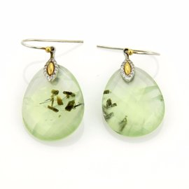 Gurhan 24K Yellow Gold and Sterling Silver with Green Quartz and 0.10ct Diamond Earrings