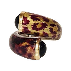 Phillip Gabriel Menegatti 925 Sterling Silver and 18K Yellow Gold with Enamel and Onyx Bypass Ring Size 6.5