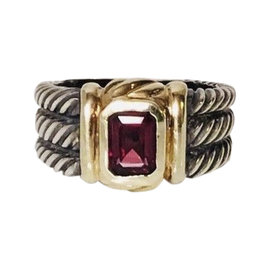 David Yurman 925 Sterling Silver and 14K Yellow Gold with Garnet Three Row Classic Cable Ring Size 8