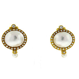 14K Yellow Gold Diamond Cultured Pearl Earrings