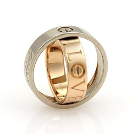 Cartier Love 18K White and Rose Gold Ring Size 6