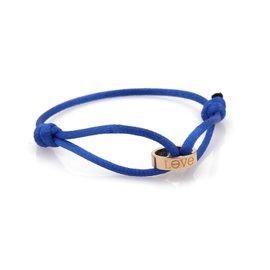 Cartier Love 18K Rose Gold & Blue Cord Mini Charm Ring Charity Bracelet