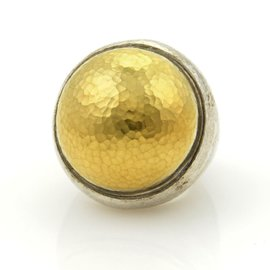 Gurhan 24K Yellow Gold and 925 Sterling Silver Hammered Ring Size 6