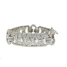 14K White Gold Vintage Inspired Diamond Bracelet